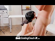 Interviewer's nimble fingers caused dark-haired lass' smooth cunny to squirt prior to fucking 8