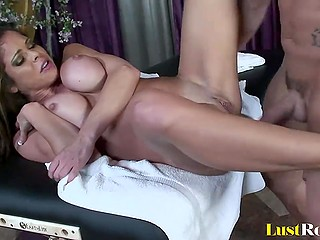 Hot cougar with hefty globes was stressful and masseur fucked shaved cunt to relax her