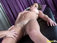 Hot cougar with hefty globes was stressful and masseur fucked shaved cunt to relax her 4