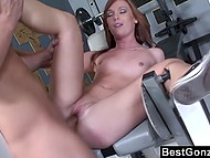 Red-haired chick agrees to continue her training with pal's dick in her pussy and takes load on face