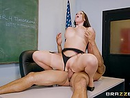 While stepson does the sums, his stepfather is fucking sexy tutor with huge titties right in class 10