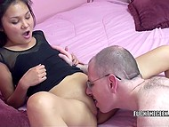 Hairy dude enjoyed foreplay with thin Kazakh Lucy Levon then nailed smooth twat 4