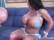 Man released cum on immense jugs after making love to incredible MILF on the blue couch 5