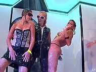 Playful girls dance and take the shower while the bravest have sex at the party 7