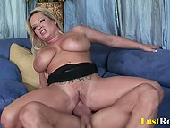 Muscled dude penetrated white-headed Rachel Love then released cum on huge natural tits 9