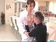 Big-tittied cook pleases old man from Japan not just with delicious dishes but also with nice blowjob 3