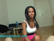 Lap dance performed by young beauty from the East to Arab music in POV scene