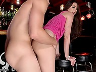 Lascivious babe gave herself to barman after the bar closure cause he bought her some drinks 5