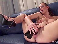 Titillating honey is playing with her huge dildo dreaming of big stallion who fucks her tough 10