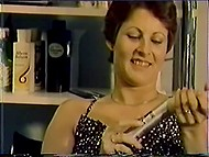Vintage porn video with Danish women polishing their hairy vaginas with adult toys 11