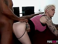 Black fellow needed a few minutes to make short-haired blonde spread her legs for him 5
