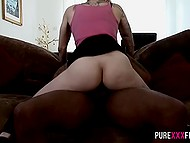 Black fellow needed a few minutes to make short-haired blonde spread her legs for him 6