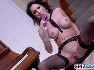 Music teacher with sizeable globes pulled out vibrator and pleased shaved sissy by the piano 5
