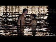 Famous French girl went naked in the sea then gave passionate kisses to male on the beach 5