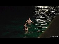 Famous French girl went naked in the sea then gave passionate kisses to male on the beach 6
