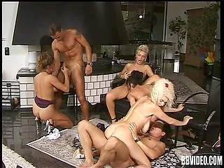 Vintage clip of group sex with perverted German women and couple of lucky fuckers
