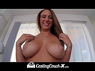 Aspiring porn actress with juicy breasts teases agent in car before crazy pounding at the casting 8