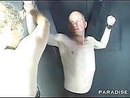 Submissive man ate pussy of German mature with dominant tendencies and then she slapped his cock