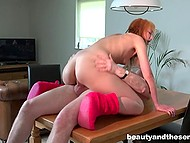 Teen slut wants old delivery guy's dick and her wish comes true so she gets banged by him and tastes his cum 8