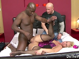 It's ok for bald guy that his wife gets fucked by black schlong and after that husband starts to lick her pussy