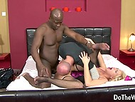 It's ok for bald guy that his wife gets fucked by black schlong and after that husband starts to lick her pussy 9
