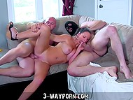 Suntanned French MILF finally got her erotic dream come true after threesome with robust men 8