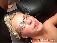 Two light-haired whores from Germany have no problems pleasuring group of men 5