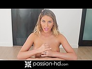 Canadian sexpot August Ames with nice natural boobs wanted to play dirty with glass dildo but beau replaced it with his dick 7