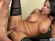 Black-haired Lacie James with juicy breasts is ready to be fucked for tickets to favorite band's concert 4