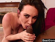 Slutty MILF gets horny and starts to suck black schlong her stepson friend's that filled her mouth with cum 11