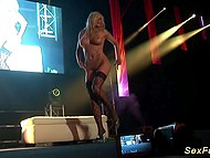 Blonde dancer undresses on the stage and finishes her show with helping of vibrator 5