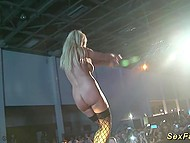 Blonde dancer undresses on the stage and finishes her show with helping of vibrator 6