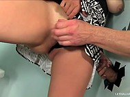 Minx was going to masturbate quickly in the toilet but her plans were violated by dick that appeared from gloryhole 9
