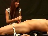 Pretty babe turned out to be dirty pervert who receives pleasure from giving handjob to tied up lad 10