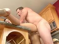 Kitchen is a perfect place for redhead to get fucked hard by her stepdad's cock 5