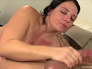 Tattooed sweet thing gladly brought man to ejaculation during deepthroat blowjob 10