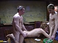Russian kitty gets some good money tonight serving dicks of two naughty boys in sauna 10