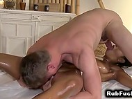 Masseur tried to resist temptation but desire to taste exotic pussy was too alluring