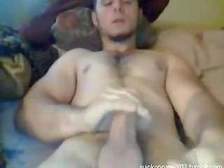 It's too trivially to jerk off in the toilet, therefore sturdy guy does it in his room on webcam