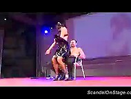 Man was lucky to savor lap dance by busty stripper in maid costume on the stage 4