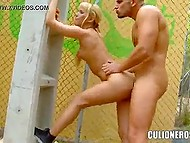 Light-haired sexpot Aleska Diamond leaned against pole and exposed both holes for penetration 6