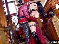 Slovakian pornstar Patty Michova as Psylocke clobbered Magneto and took hold of his massive rod