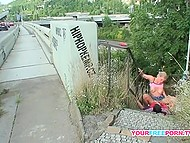 Blonde girl and boyfriend aren't ashamed of public sex and do it on the stairs under the bridge 11