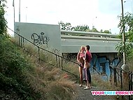 Blonde girl and boyfriend aren't ashamed of public sex and do it on the stairs under the bridge 6