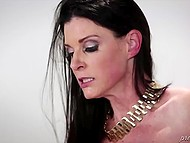 Fellow promised to be a good boy so dark-haired diva released him to have awesome sex 8