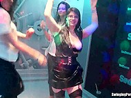 Horny chicks lost their mind and began to do lesbian things on the stage during wet party 3