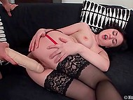 Two horny lesbians don't waste their time and excite themselves with giant dildo 7