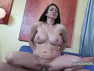 MILF Karrlie Dawn with shaved pussy and huge jugs can have hard sex without a break 6