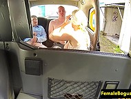 Stacked taxi driver knows how to bring a lot of pleasure to passengers in the back seat 9