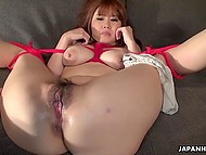 Dude is getting twisted with young Asian and bringing her to orgasm using sex toys 8